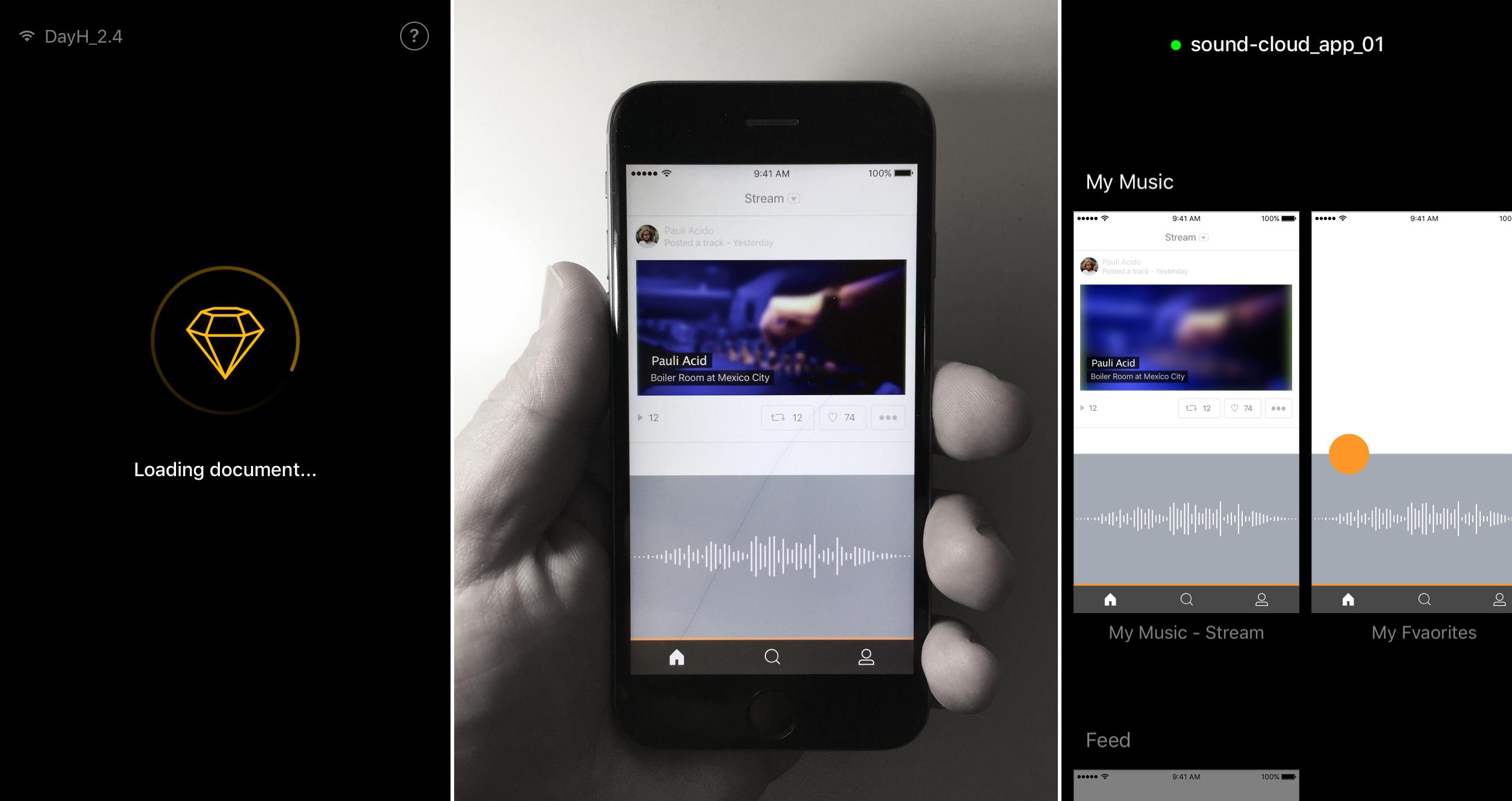 בצד שמאל, מסך טעינת של האפלקציה באייפון, באמצע האפליקציה כבר מציגה לנו את העיצוב שלנו ואיך בדיוק זה נראה על המסך האמיתי, אין כמו הדבר האמיתי (טוב במקרה הזה, הדבר הכי קרוב לאמיתי). בצד ימין מראה תצוגה של שאר המסכים של הפרויקט.
