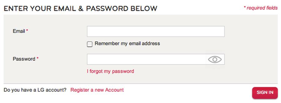 שדה המשתמש אומר ״Email״, מה שמאפשר למשתמש לזכור מה מצופה ממנו. קישור ״שכחתי סיסמא״ בולט וצמוד לשדה הסיסמא עצמו, אשר מכיל אפשרות להצגת הסיסמא (בדמות אייקון העין).
